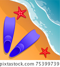 Beach background. Flippers and starfish on the sand. Sea shore. Flat style. Cartoon. Vector. 75399739