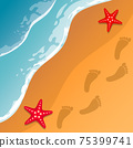 Beach background. Sea shore. The waves and sand. Sea stars. Traces of feet in the sand. Vector . 75399741