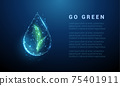 Falling drop of water with green leafs inside 75401911