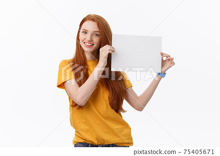 Young casual woman style isolated over white background hold sign card 75405671