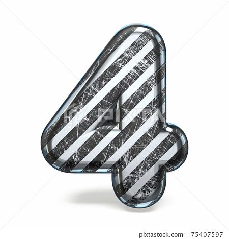 Striped steel black scratched font Number 4 FOUR 3D 75407597