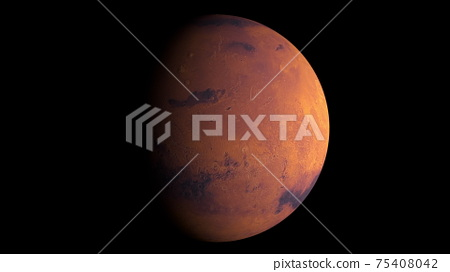 Planet Mars with shine, computer generated. 3d rendering of realistic cosmic background. Elements of this image are presented by NASA 75408042