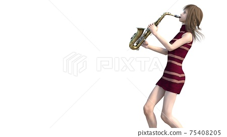 Young woman playing saxophone perming3DCG illustration material 75408205