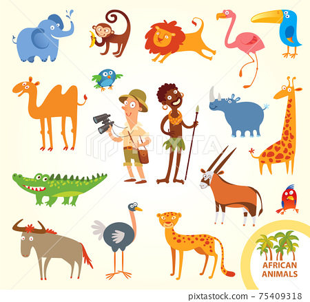 Set funny african little animals 75409318