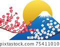 후지산과 홍매화와 흰 매화와 태양 벡터 소재 75411010