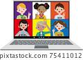 아이들의 노트북에서 원격 대화 벡터 소재 75411012
