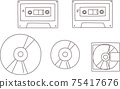오디오 관련 일러스트 세트 (선화) 75417676