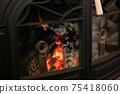 Wood-burning stove, fireplace, beautiful flames 75418060