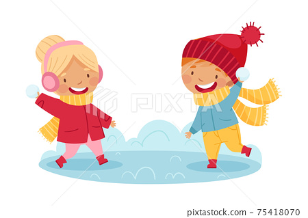 Happy Boy and Girl in Scarf and Knitted Hat Playing Snowball Fight Enjoying Winter Vector Illustration 75418070