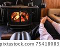 Wood-burning stove, fireplace, beautiful flames 75418083