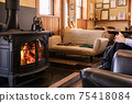 Wood-burning stove, fireplace, beautiful flames 75418084