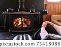 Wood-burning stove, fireplace, beautiful flames 75418086