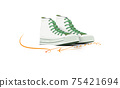 Vector illustration of white sneaks standing on the word Run.Vector background of doing excersing,keep running . 75421694