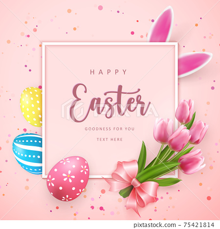 Happy Easter square frame banner template with Easter eggs and tulip flower pink ribbon rabbit ear 75421814