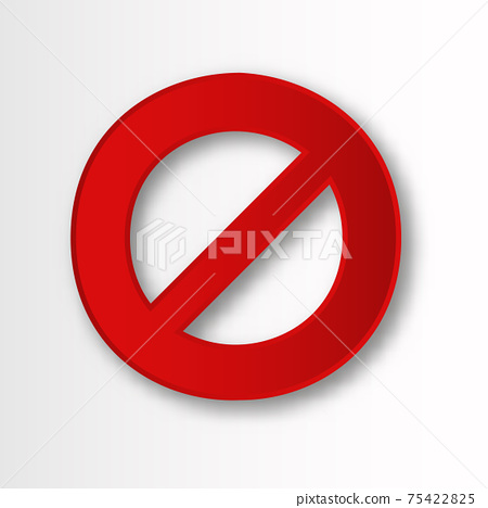 Banned circle with line. Red rounded prohibition sign with warning danger limitation. 75422825