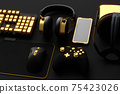 Top view of gamer workspace and gear like mouse, keyboard, joystick, headset, VR 75423026