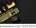 Top view of gamer workspace and gear like keyboard, joystick, headset, VR 75423034