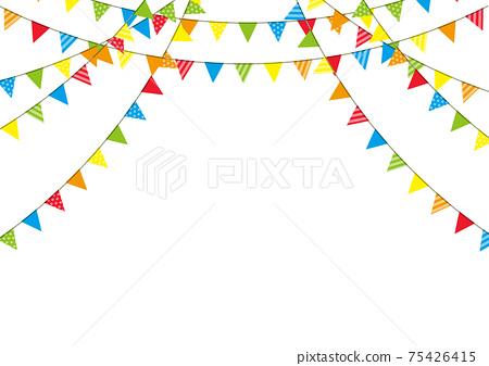 五顏六色的連續旗子,旗子背景框架 75426415