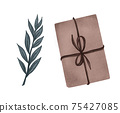 Set of gift boxes with bows and floral decoration. hand drawn illustration of presents in crafting paper. neutral colors. 75427085