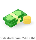 Flat icon of Money, stacks of banknotes and coins. Vector. 75437361