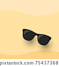 Black Sunglasses on sand flat icon vector. for Summer and Vacation design. 75437368
