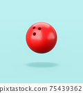 Red Bowling Ball on Blue Background 75439362