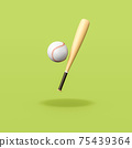 Baseball Bat and Ball on Green Background 75439364
