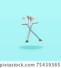 Pair of Crutches on Blue Background 75439365