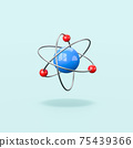 3D Atom Structure Isolated on Blue Background 75439366