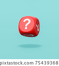 Question Mark Red Dice on Blue Background 75439368