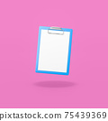 Blue Clipboard with Blank Paper on Purple Background 75439369
