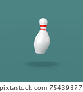 Bowling Skittle on Blue Background 75439377