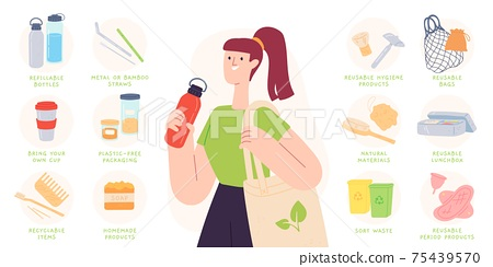 Zero waste tips. Reduce plastic by using recyclable and reusable products, bottles, cutlery and bags. Sustainable living vector infographic 75439570