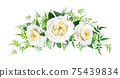 Vector beautiful floral bouquet watercolor illustration. Light yellow elegant, cabbage, garden rose flowers, fern, green vine leaves, eucalyptus. Wedding invite, save the date card editable decoration 75439834