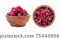 Fruit pomegranate in wood bowl on white background 75440606