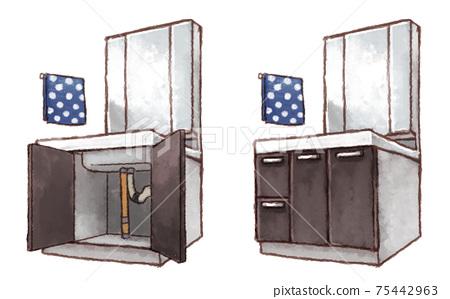 Vanity door is open and closed 75442963