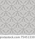 Damask floral seamless pattern gray background 75451330