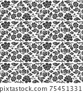 Abstract floral damask seamles pattern black and white wallpaper 75451331