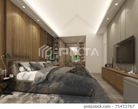 interior design of  bedroom,3d rendering 75453767