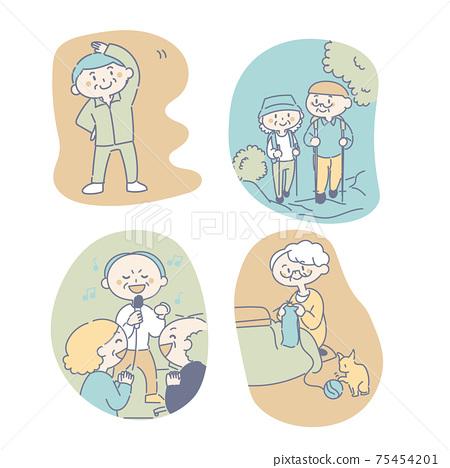 老年人享受愛好和運動 75454201