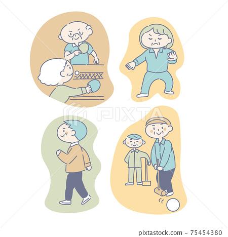 老年人享受愛好和運動 75454380