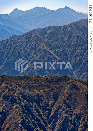 從鹿角屋立山頂眺望的丹內山莊和八里/穗高山脈 75460933
