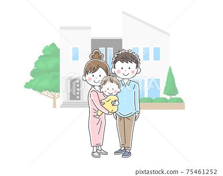 一個年輕的家庭買了自己的房子的插圖 75461252