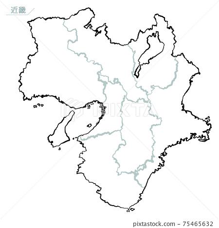 Japanese-style map of Japan Kinki region 75465632