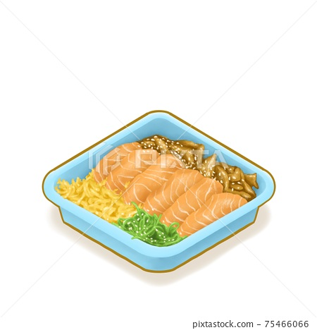 Japanese salmon don (Donburi), a digital painting of salmon sashimi rice bowl in blue tray package isometric cartoon icon raster 3D illustration on white background. 75466066