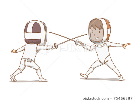 Cartoon illustration of fencing athletes. 75466297