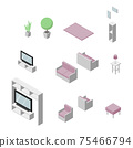 Set of Living room furniture. Chair, Sofa, table, television and plant. Isometric Drawing Vector. 75466794