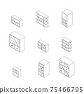Set of Furniture, Cabinets and Cupboard with glass. Outline Isometric Drawing Vector. 75466795