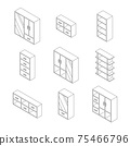 Set of Furniture, Cabinets and Cupboard with glass. Outline Isometric Drawing Vector. 75466796