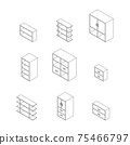 Set of Furniture, Cabinets and Cupboard with glass. Outline Isometric Drawing Vector. 75466797